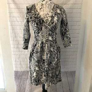 Anthropologie HD Paris snakeskin fit flare dress